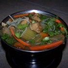 Spicy Chicken Thai Noodle Soup - This slow cooker chicken soup is flavored with curry, sage, oregano and red chile pepper and has rice noodles.
