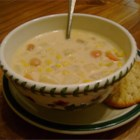 Depression Era Corn Chowder - This corn chowder is made with just corn, potatoes, chicken broth, evaporated milk, onion and butter.