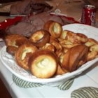 Classic Yorkshire Pudding - Not a pudding, but a puffed pastry baked with meat drippings. We in the U.S. tend to think Yorkshire pudding and popovers are the same thing.  Popovers are hard and very airy.  Yorkshire pudding is softer and doesn't rise as high as a popover. Traditionally served with roast beef.
