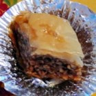 Baklava I - Ground walnuts are sweetened with sugar and cinnamon and baked in phyllo, then doused in a simple syrup -- no honey in this baklava!