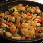 Cajun Shrimp Orecchiette - A spicy shrimp, tomato, and spinach sauce tops interesting orecchiette ('little ears') pasta.