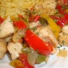 Pepper Chicken Piccata - A tart lemon glaze contrasts sweet onions and red bell peppers in this lively chicken saute.