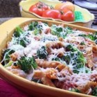 Stephanie's Best Casserole - Chicken and cheese are mixed with rigatoni pasta and broccoli rabe.