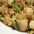 Fried Rice with Cilantro - A delicious fried rice. You can use either chicken, pork, bacon or seafood - great with calamari and prawns.