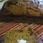Chocolate Pecan Pumpkin Bread - Throw this quick bread together in a few minutes, and have a warm slice of pumpkin pecan bread with chocolate chips in no time.