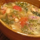 Bean Soup With Kale - White beans, cannellini or navy, and chicken broth form the base of this soup made with fresh kale and tomatoes.