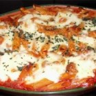 Baked Penne with Italian Sausage - A simple baked pasta recipe with sausage, tomato sauce, and mozzarella cheese.