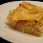 German Lasagna - Lasagna with kielbasa, sauerkraut, mozzarella and a sauce made from cream of mushroom and chicken soups.
