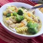 25-Minute Chicken and Noodles - A quick-to-make chicken casserole features Swanson chicken broth and healthy vegetables.