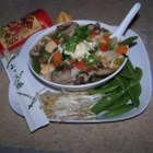 Asian Chicken Noodle Soup - Chinese noodles are topped with chicken broth flavored with shiitake mushrooms and green onions in this quick soup.