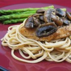 Chicken Breasts with Balsamic Vinegar and Garlic - An aromatic, garlicky sauce of Balsamic vinegar and mushrooms graces this chicken dish.