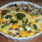Chicken Frittata - Chicken is baked with broccoli, mushrooms, and potatoes in this cheesy egg dish.