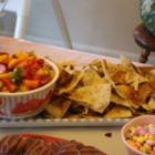 Fruit Salsa with Cinnamon Tortilla Chips - Cinnamon tortilla chips are dipped in a fragrant fruit salsa.