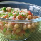 Mediterranean Chickpea Salad II - A chilled combo of garbanzo beans, tomatoes, green bell peppers, and other flavors of summer!