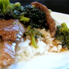 Beef Teriyaki - Simple beef teriyaki with quickly-browned beef sirloin strips and broccoli florets; simmered in a thick soy sauce and brown sugar sauce, seasoned with garlic powder. Served over rice.