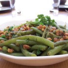 Green Beans With Walnuts - Super yummy dish that can be prepared in advance, and tossed with hot oil just before the dinner is served.