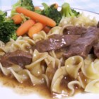 Round Steak Sauerbraten - This is a simplified version of sauerbraten that does not require marinating. Sliced top round steak is browned and simmered with vinegar, brown-gravy mix, and spices. Sour cream could be added at the end of cooking.