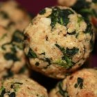 Parmesan Spinach Balls - Little breaded balls of spinach and Parmesan cheese are baked in the oven until golden brown!