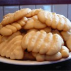Butter Cookies II - This is a simple butter cookie that can be used in a cookie press, as a drop cookie or made into a roll and sliced.  There is no mystery cookie for a cookie press...any stiff butter type can be used.  Just be sure to chill it thoroughly so it keeps its shape while baking.