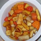 Roasted Root Vegetables With Apple Juice - Caramelized roasted vegetables made with a white wine syrup. Originally submitted to ThanksgivingRecipe.com.
