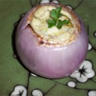 Roasted Red Onions Stuffed With Mascarpone Cheese