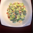 Broccoli Salad II - Fresh broccoli, shredded carrot and crumbled bacon are tossed in a mayonnaise-based dressing in this salad serving 12.