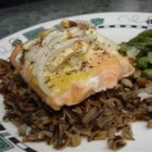 Dijon Garlic Salmon - Salmon is delightful with Dijon mustard, garlic, onion, and a bit of tarragon. I created this dish for the low-carb diet I was on. Enjoy!!