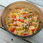 Orzo Delicioso - This fresh, colorful pasta dish features sauteed onions, garlic, mushrooms, corn, tomato, bell peppers, and fresh jalapenos in a light white wine sauce.