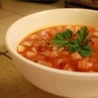 Corrigan's Minestrone - Hearty and filling vegetarian soup with potatoes, carrots, celery, onion, garlic, beans and pasta.