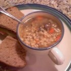 Very Easy Mushroom Barley Soup - I love mushroom barley soup and I was originally making one that took about 3 hours to cook.  This one is so simple and easy and takes a third of the time.  If you like mushroom barley soup, you will really like this.  It's perfect for a cold winter night.
