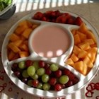 Baby Shower Raspberry Dip - Try this creamy, sweet dip with your favorite fruit! It's a refreshing warm weather treat, but suitable any time of the year! Experiment with different extracts to make the color appropriate for any occasion!