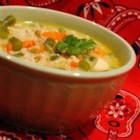 Creamy Chicken Vegetable Chowder - Delicious blend of fresh veggies, cheese and chicken. EASY!