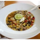 Chicken Soup With Black Beans and Corn - A chicken soup with a Southwestern flair - this one includes black beans and corn, and is seasoned with cumin, chili powder, and fresh cilantro. Serve with Monterey Jack cheese and fresh lime wedges.