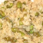 Creamy Edamame Risotto - I put these ingredients together in hopes of creating a vegetarian friendly meal high in protein and using goat cheese and risotto (two of my favorite foods!).  The result: a delicious, satisfying, elegant meal for two! Mmmmm!