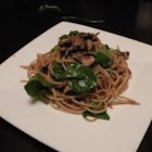 Florentine Pasta Salad - An unusual pasta salad made with spaghetti, teriyaki sauce and wilted spinach and served warm.