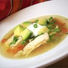Avocado Soup with Chicken and Lime - Thin strips of chicken breast are simmered in broth with jalapenos, onion, garlic and lime and then combined with avocado and topped with crisp corn tortilla strips in this spicy soup.