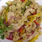 Nicole's Chicken Pasta - This is a very good pasta for family get togethers. Vegetables of every color are tossed with bowtie pasta and chicken. It can be served hot, cold, or room temp.