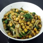 Spinach with Chickpeas and Fresh Dill - Fresh spinach braised with onion, olive oil, chickpeas and  dill gets a goodly splash of lemon juice to bring out the bright, refreshing flavors of this snappy side dish. Soak and rinse spinach thoroughly to wash away grit.