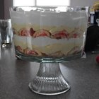 Easy Valentine's Day Trifle - Layer slices of ready-to-eat jellyrolls with strawberries, vanilla pudding and whipped topping for a colorful dessert that is easy to make and festive to behold.