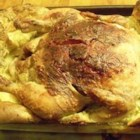 Roaster Yorkshire Chicken - An alternative to traditional beef roast and Yorkshire pudding. You cook a whole chicken in a roasting pan and then bake the pudding around the chicken.