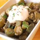 Easy Indian Style Okra - My Indian friend taught me how to make this easy traditional Indian okra recipe using fresh okra and spices in a skillet.