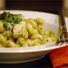 Teena's Spicy Pesto Chicken and Pasta - A spicy chicken and pesto pasta dish that's easy to adjust to any heat level. I created it after eating a similar dish at a Santa Monica restaurant, and it's one of my favorites. Serve with additional grated Parmesan, if desired. As an option, it's delicious with creamy goat cheese stirred in at the end.