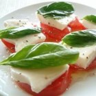 Owen's Mozzarella and Tomato Salad - So easy, looks great, and tastes fabulous. Plump tomatoes are topped with thick slices of cheese, a drizzle of good olive oil, and fresh basil.