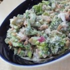 Broccoli Buffet Salad - This is a great salad to pack for lunch at work, or to take to family gatherings. Broccoli, feta cheese, and other goodies are tossed with a homemade dressing made with low fat yogurt and mayonnaise, and seasoned with lemon juice and salt and pepper.