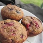 Very Berry Muffins - Thick and healthy muffins are made with fresh berries of any kind and rolled oats. Good source of calcium and carbs. I  like to use either blueberries or raspberries in this recipe.