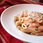 Tomato-Cream Sauce for Pasta - Creamy red sauce seasoned Italian style with garlic, basil and oregano.