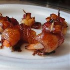 Bacon Wrapped Barbeque Shrimp - Large succulent shrimp, seasoned, wrapped in bacon and broiled.