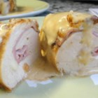 Chicken Cordon Bleu II - This is a standard recipe for Cordon Bleu, featuring stuffed chicken swimming in a creamy wine sauce.