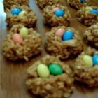 Birds' Nests - Make cookies that look like bird nests! Pretty for school spring celebrations or Easter. You can use egg-shaped candies in lieu of the jellybeans, too.