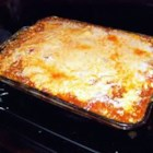 Yummy Lasagna - Lasagna with ground beef and pepperoni, ricotta and mozzarella.
